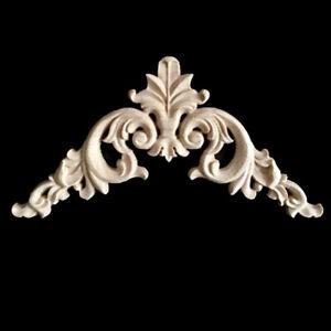 4xUnpainted Wood Oak Carved Corner Onlay Applique Furniture Moulding Craft Decor
