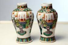 pair Antique Chinese Famille Verte Vases