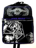Vintage Star Wars Backpack Book Bag Darth Vader Tie Fighter Black White New