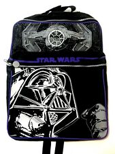 Vintage Star Wars Backpack Book Bag Darth Vader Tie Fighter Black White New