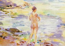 Nude bathing, Cornwall, Wilfrid de Glehn Vintage imprimer en 11 x 14 in (environ 35.56 cm) Mount
