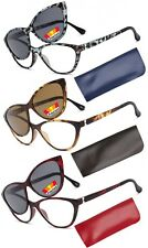 Full Clear Lens Reading Glasses with Magnetic Sunglasses Clip on Polarized Lens