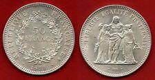 France : Rare 50 Francs 1974 Variété Avers 20F SUP/ SPL Hercule Argent Silver