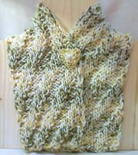BROWN YELLOW WHITE MULTICOLOR WINTER SCARF NEW HAND KNITTED WITH HEART BROOCH