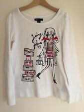 Gap Kids, 8 Years Girl, White Long sleeve top, 'Going places' graphic Camera