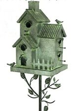 Tin and Iron metal multi-family Bird House on Stake Outdoor Lawn Patio Garden