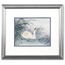 Original Painting on Silk Paper & Hand Signed By Caroline Young Framed! Swan