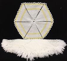 Doily Round Star Placemat Hand Crochet White Yellow Yarn Fringe Lot of 2