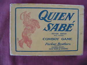 """Vintage Parker Brothers """"QUIEN SABE"""" Cowboy Game, Complete w Rules, VG"""