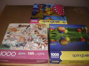 SPRINGBOK 1000 piece puzzles (lot of 3) as shown, read description