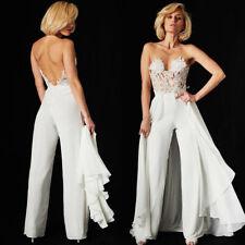 Strapless Wedding Pant Suits Detachable Train Lace Top Women Chiffon Pants White