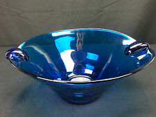 "11"" Murano Style Hand Blown Blue Glass Handled Salad Fruit Bowl Blue Pontil"