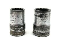 """Lot Of 2 Vintage Craftsman Sockets BE Series 1/2'' Drive 9/16"""" And 21/32"""" 12 Pt."""