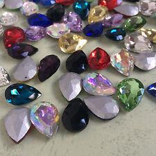 7*10mm Teardrop Point back Rhinestones Crystal Glass Nail Art Chatons 100ps U2