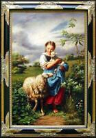 Hand Painted Old Master-Art Antique Oil Painting Portrait sheep girl on canvas