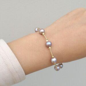 "8-8.5""  Natural South Sea  8-9mm Genuine Gray Pearl Bracelet 14k Gold P"