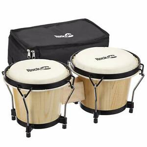 Bongo Drum Set RockJam Handtrommel Holz Musikinstrument Tasche Natur Kuhhaut OVP