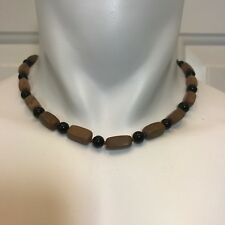 Handmade Mens Necklace Brown Marble and Black Obsidian Beads with Bronze Metal