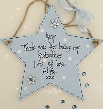 Personalised Thank You For Being My Godparent Star Plaque Keepsake Gift Handmade