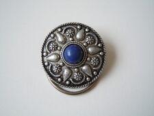 Alter Schal Clip,Schalklammer blaue Kugel Silberf. Metall Ges. Gesch. 5,5 g