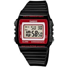 W-215h-1a2 Black 50m Casio Watch Unisex Digital Alarm Chronograph Resin Band