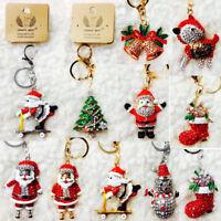 New Christmas Santa Keyring Rhinestone DIAMANTE Bag Charm Key Chain Gift Bling