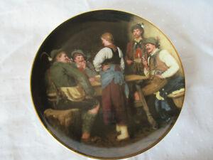"""Antiker Porzellan Wandteller,LILIEN AUSTRIA 1988, """"Wilderer in der Sennhütte"""""""