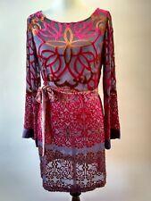 Hale Bob Shift Dress Sheer Blue With Red Bronze Velvet Geometric Design Size M