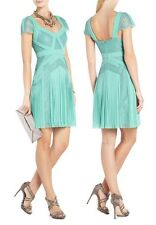 $388 BCBG MAX AZRIA Aris Pleated  Cocktail  Dress in Green  SZ 6