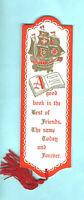 Vintage Bookmark Sailing Boat Galleon Xmas Card Book Best Friend Friendship Gift