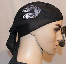 Zan Headgear Flydanna Black with Silver Skull and Wings