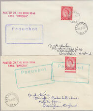 1962-63 Stavanger Norway pair of Paquebot covers ~ RMS Caronia