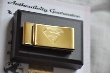 Money Clip Business Card Holder Superman Logo Metal Gift Box 24K Gold Plated