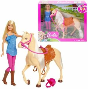 Barbie Doll & Horse Playset, Blonde Hair with Riding Accessories FXH13 GIFT NEW