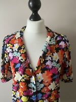 ZARA BLOUSE/SHIRT, BLACK, BRIGHT FLORAL, V NECK, SHORT SLEEVE, MED-UK 12
