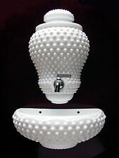 ViNTaGe Fenton HoBNaiL White MiLK GLaSs Lavabo Fountain WaLL PoCKeT Planter~VaSe