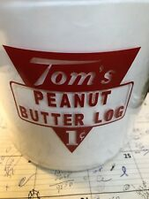 TOMS PEANUT DECAL FOR STORE JAR LID  DECAL Red  Peanut Butter Log 1 Cent.