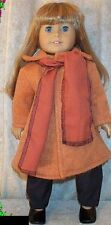 """Doll Clothes Made 2 Fit American Girl 18"""" inch Wool Coat Rust 2pc Scarf"""