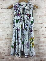 Anthropologie Womens White Floral Print Sleeveless Button Down Blouse Size XS