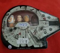 Star Wars:PEZ Millennium Falcon Collectible Gift Tin, BB-8,REY,SOLO,CHEWY  12#1
