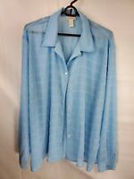 Coleridge & Co Womens Size 20T Blue Sheer Button Up Top Long Sleeve Blouse Tunic