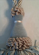 2 Drape Tassels Light Blue, Tan, Ivory,Pompom With Ribbon Strands, New