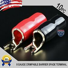 GOLD PLATED SPADE FORK 8AWG GAUGE TERMINAL BLACK RED 10 PCS INSULATED CONNECTOR