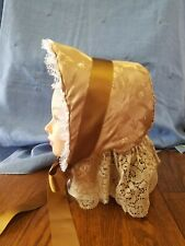 Reproduction 1860 Civil War Victorian Gold Brocade Handmade SPOON BONNET & Veil