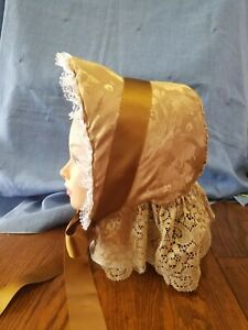 Reproduction 1860 Civil War Victorian Gold Brocade Handmade SPOON BONNET & Veil