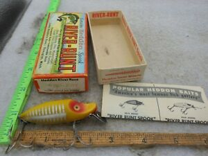 Vintage Heddon River Runt Spook SINKER FISHING LURE Matching box 9110 XRY
