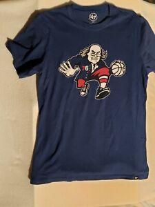 Philadelphia 76ers Logo Tshirt Ben Franklin Blue Small Sixers NBA Used Philly