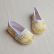 "Golden Chinese Embroidered Flat Shoes For 1/4 17""  BJD MSD AOD AS DOD Doll"
