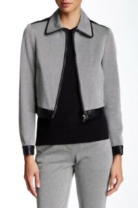 Theory $515, Balvino Elmore Calf Leather Trim Black White Knit Jacket Sz 2