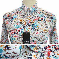 Relco Mens Floral Flower Abstract Print Shirt Long Sleeve Mod Vintage Retro Vtg